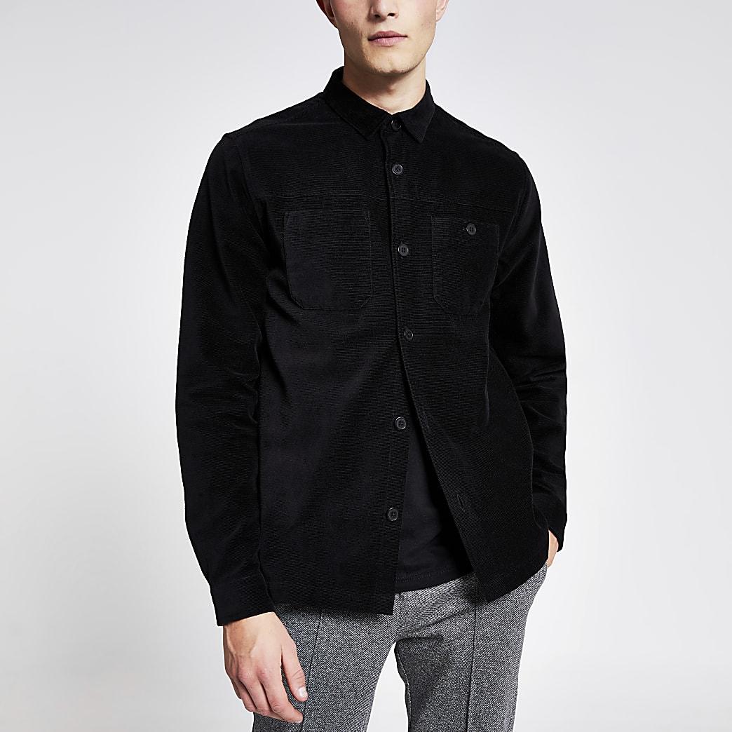 Zwart corduroy overhemd met lange mouwen