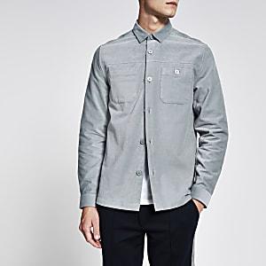 Lichtgrijs corduroy overhemd met lange mouwen