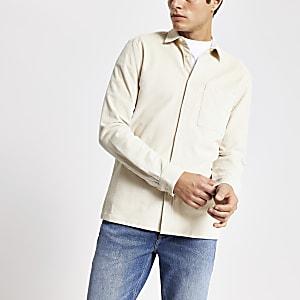 Ecru corduroy overhemd met lange mouwen met normale pasvorm