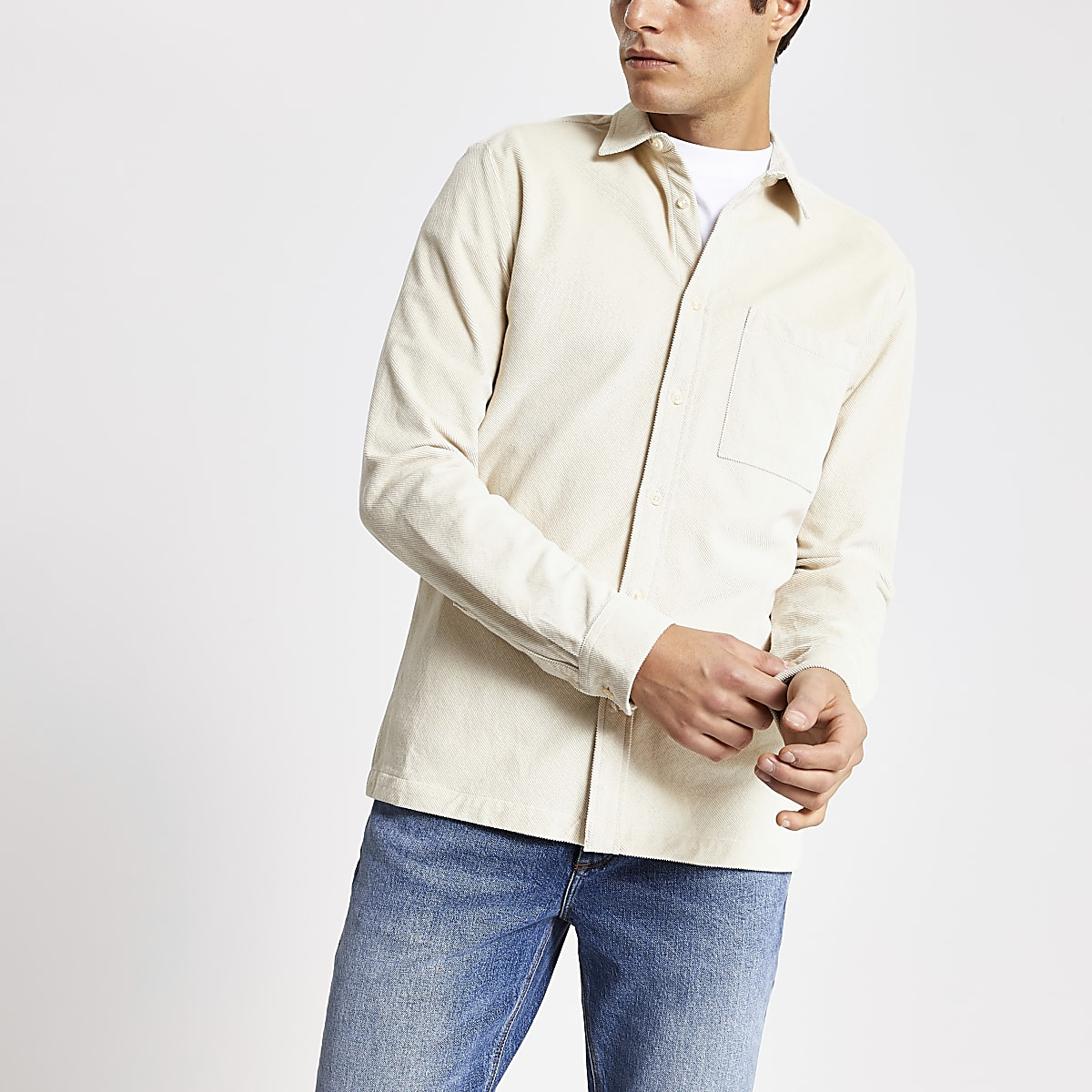 Ecru regular fit corduroy long sleeve shirt