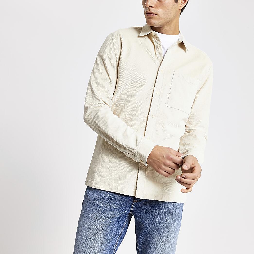 Ecru regular fit corduroy long sleeve shirt