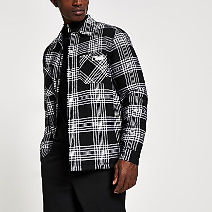 Black check long sleeve quilted overshirt