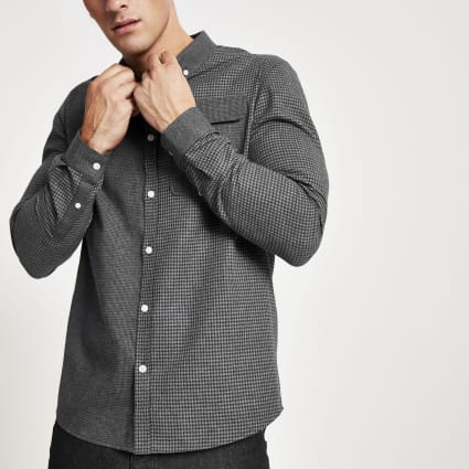 Navy block check regular fit shirt