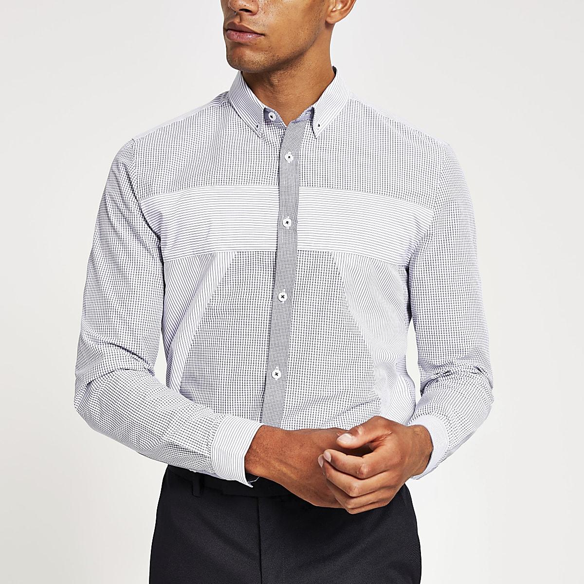 Marineblaues Slim Fit Hemd mit verschiedenen Mustern