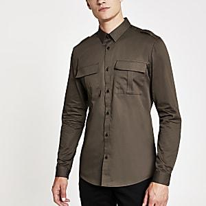 Donkergroen utility overhemd met lange mouwen