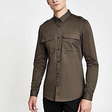Dark green long sleeve utility shirt
