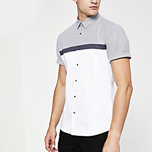 White check block print short sleeve shirt