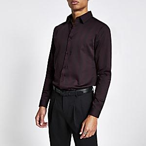 Dunkelrot gestreiftes Slim Fit Premium-Hemd