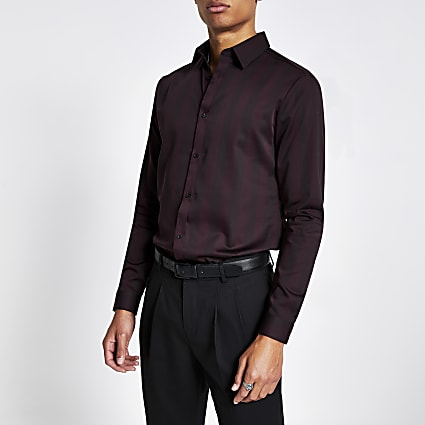Dark red stripe slim fit premium shirt
