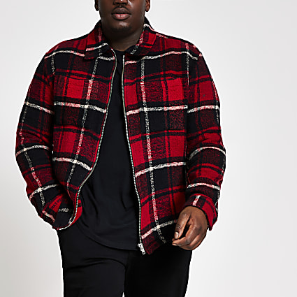 Big and Tall red check zip through overshirt