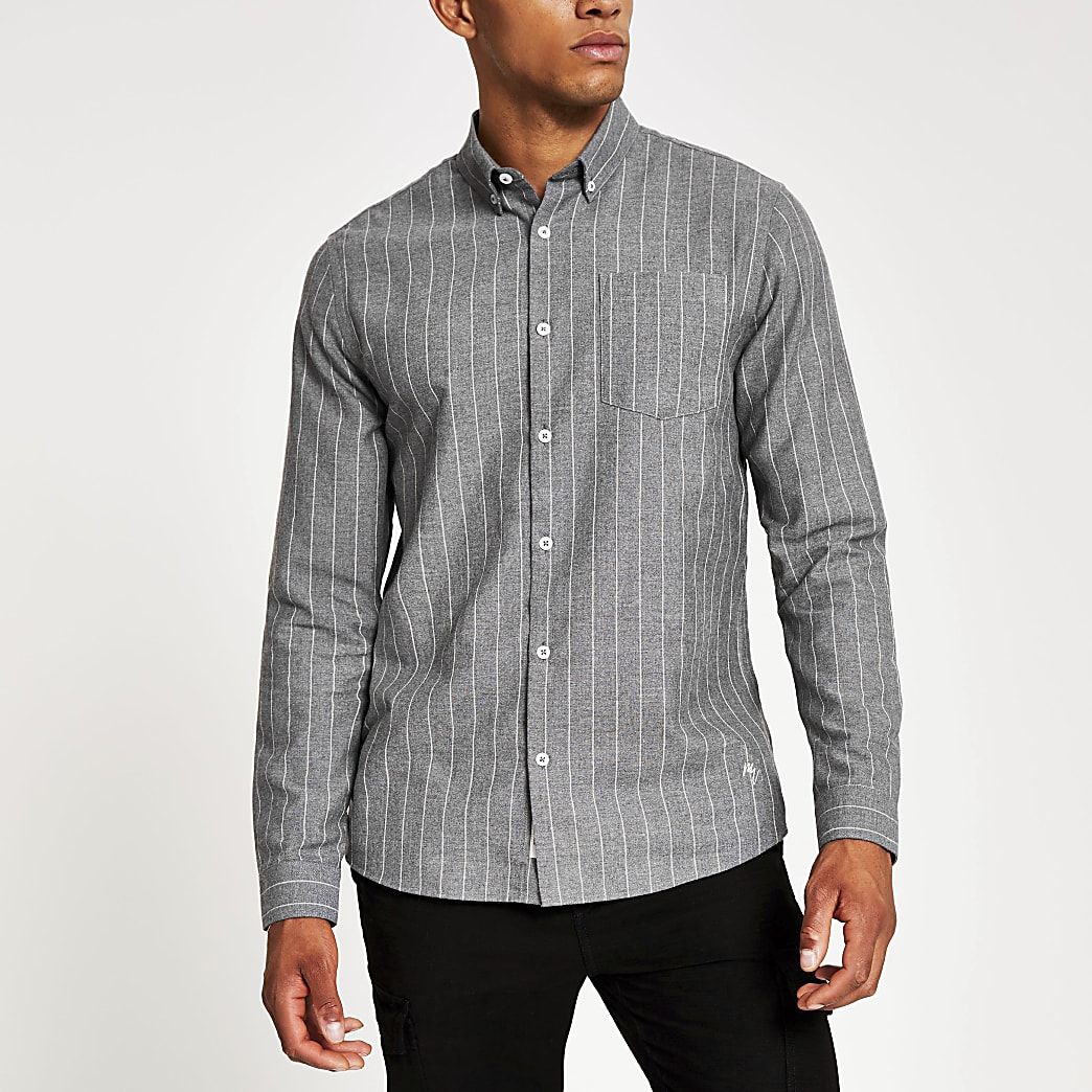Grey pinstripe regular fit shirt