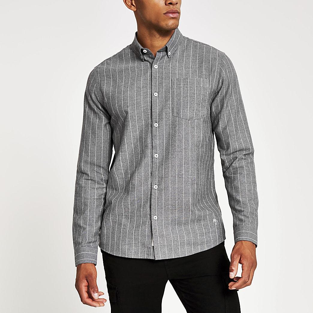 Chemise coupe classique à rayures grises