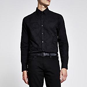 Zwart slim-fit jacquard overhemd met lange mouwen
