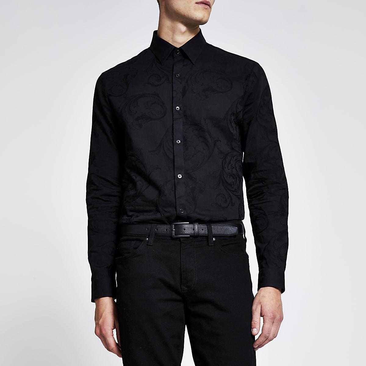 Black jacquard long sleeve slim fit shirt
