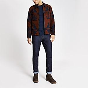Braunes Regular Fit Überhemd mit Azteken-Muster