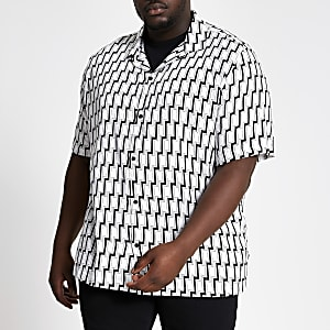 Big and Tall - Zwart kort overhemd met geometrische print
