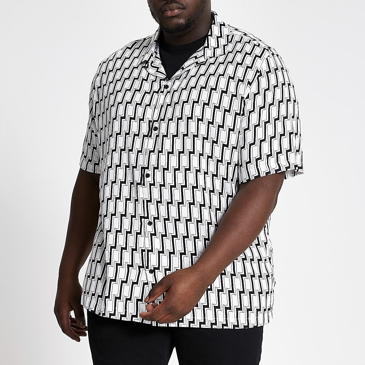 Big and Tall - Zwart kort overhemd met geometrische print