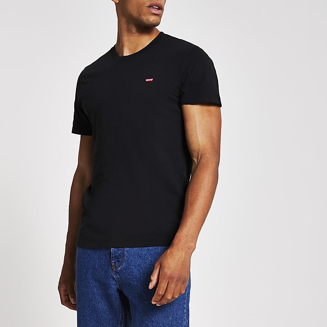 Levi's - Zwart T-shirt met logoprint op de borst