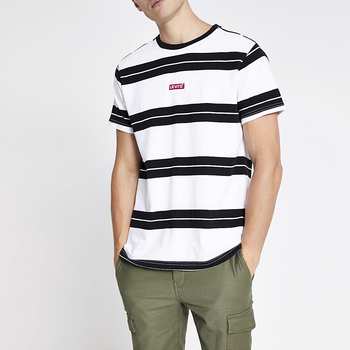 Levi's - Wit relaxt gestreept T-shirt