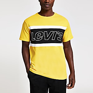 Levi's – T-shirt colour block jaune à logo