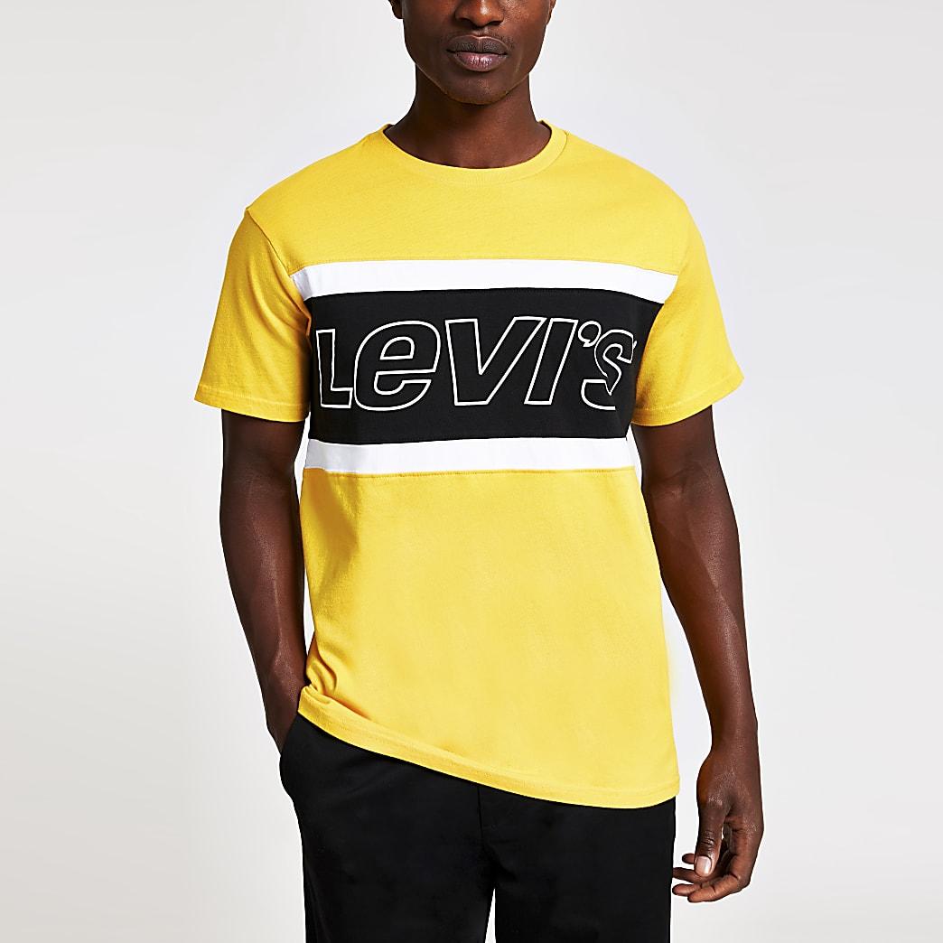 Levi's – T-shirt colour block jaune à logo