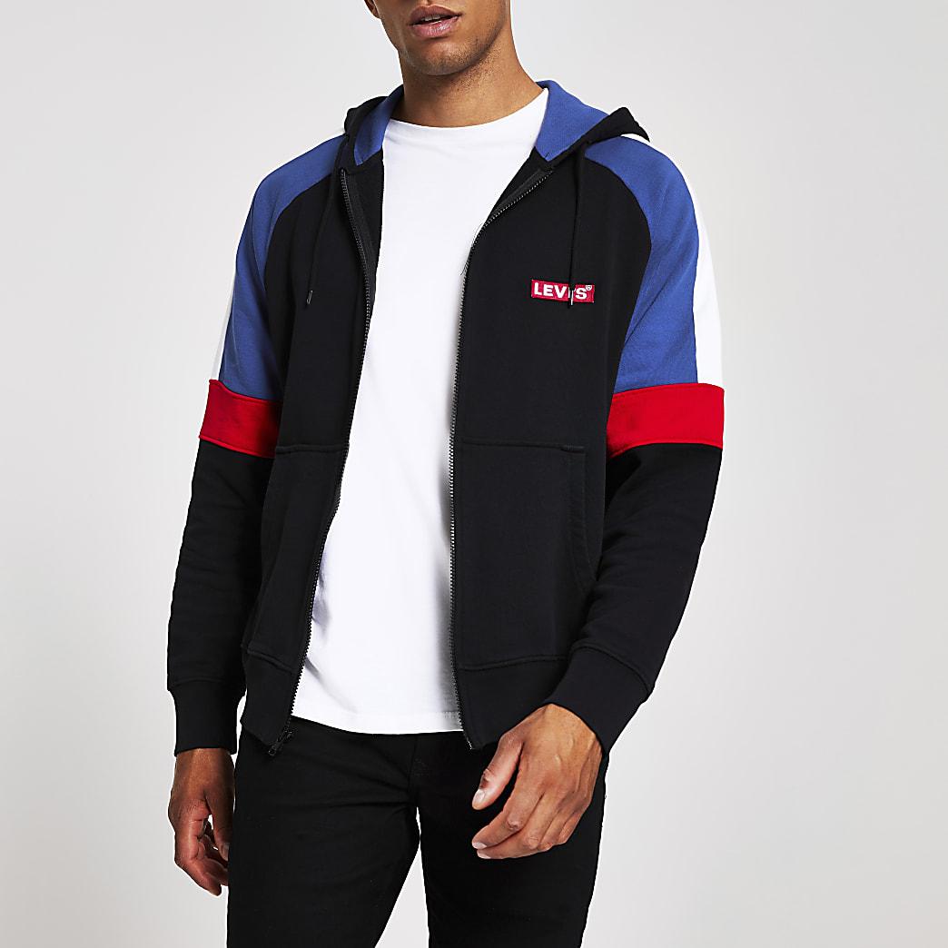 Levi's - Zwarte hoodie met kleurvlakken en rits