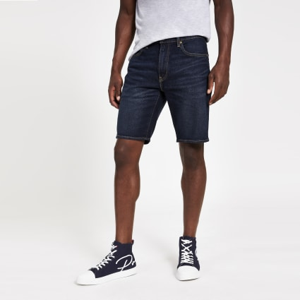 Levi's 502 Taper dark blue denim shorts