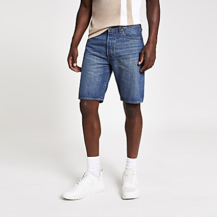 Levi's 501 Hemmed blue denim shorts