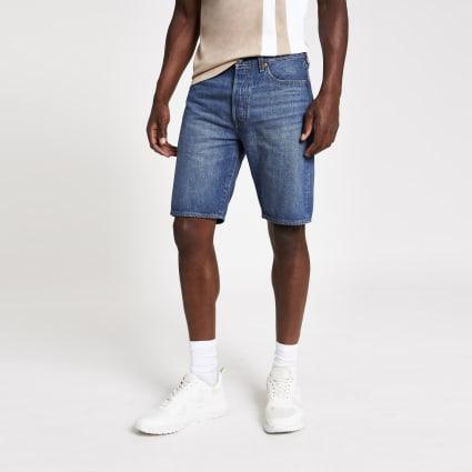 Levi's 501 Hemmed blue denim shorts