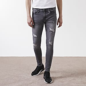 Ollie – Graue Spray-on-Jeans im Used-Look