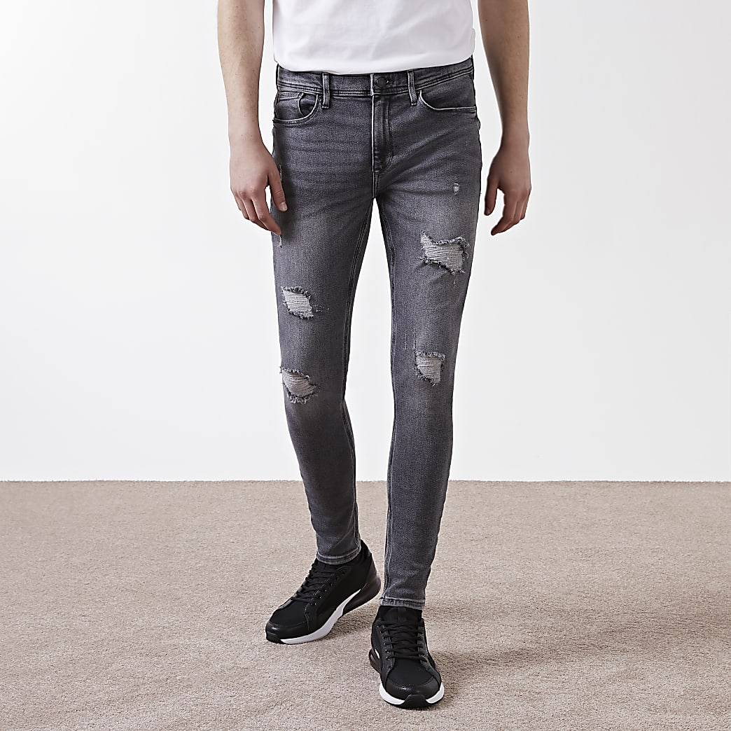 Grey ripped Ollie spray on jeans