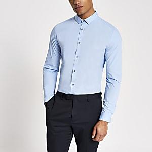 T-shirt bleu clair coupe slim à manches longues
