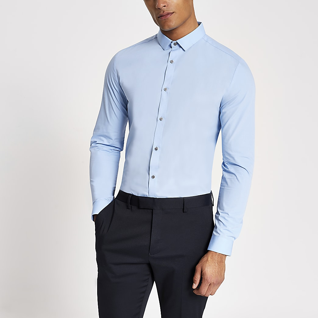 Hellblaues, langärmliges Slim Fit Hemd