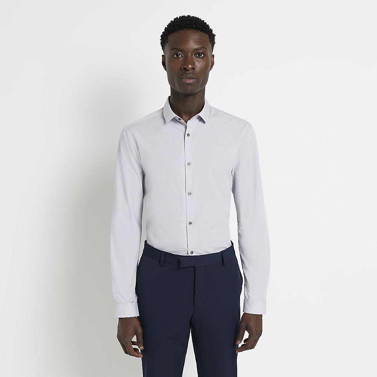 Chemise slim gris clair à manches longues