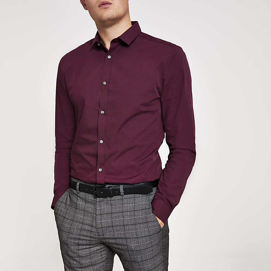 Dark red slim fit long sleeve shirt