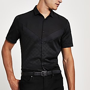 Schwarzes Slim Fit Hemd im Sparren-Look mit RI-Monogramm-Muster