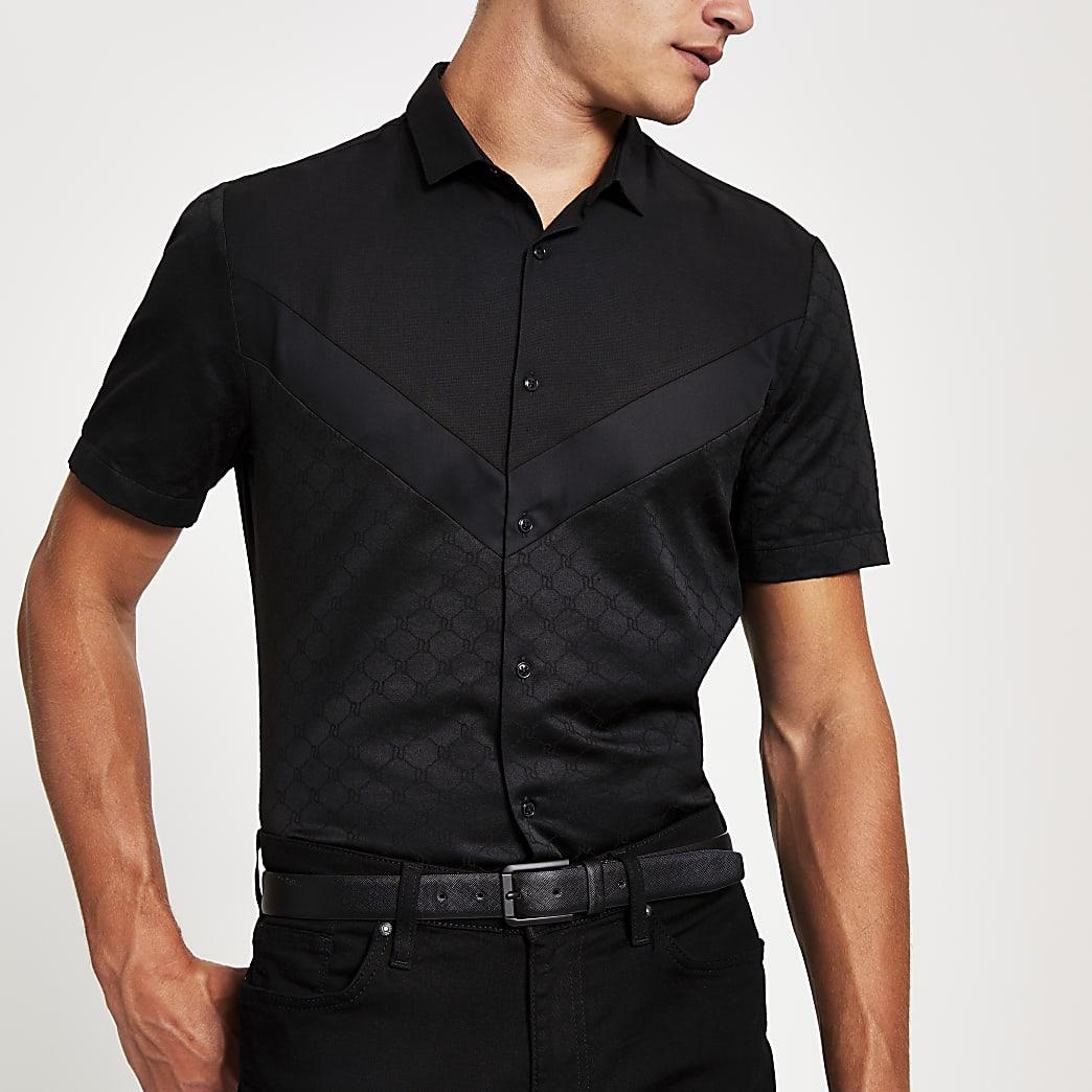 Zwart slim-fit overhemd met RI-monogram enzigzagprint