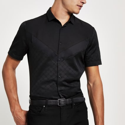 Black RI monogram chervon slim fit shirt