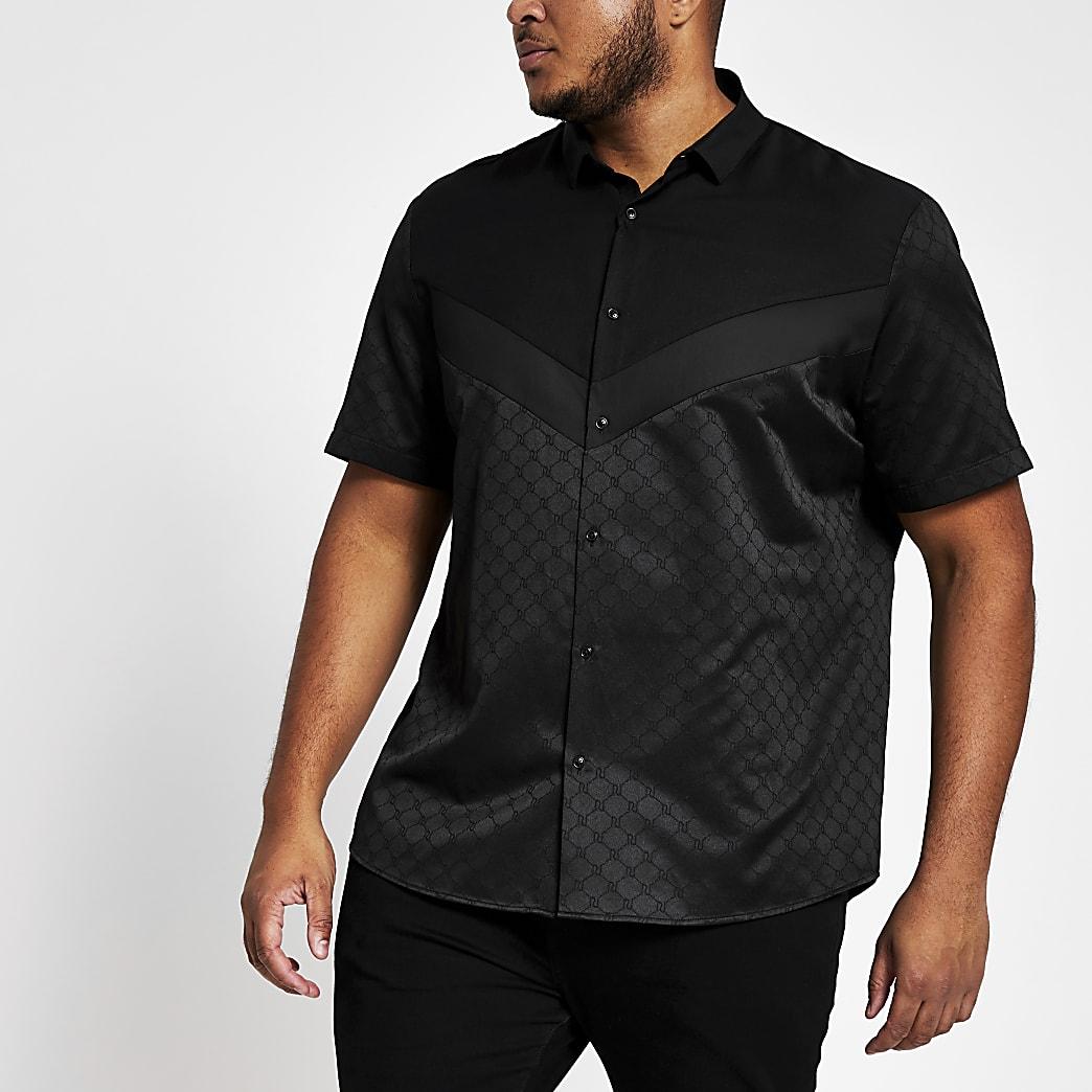 Big & Tall – Schwarzes Regular Fit Hemd im Sparren-Look mit RI-Monogramm-Muster
