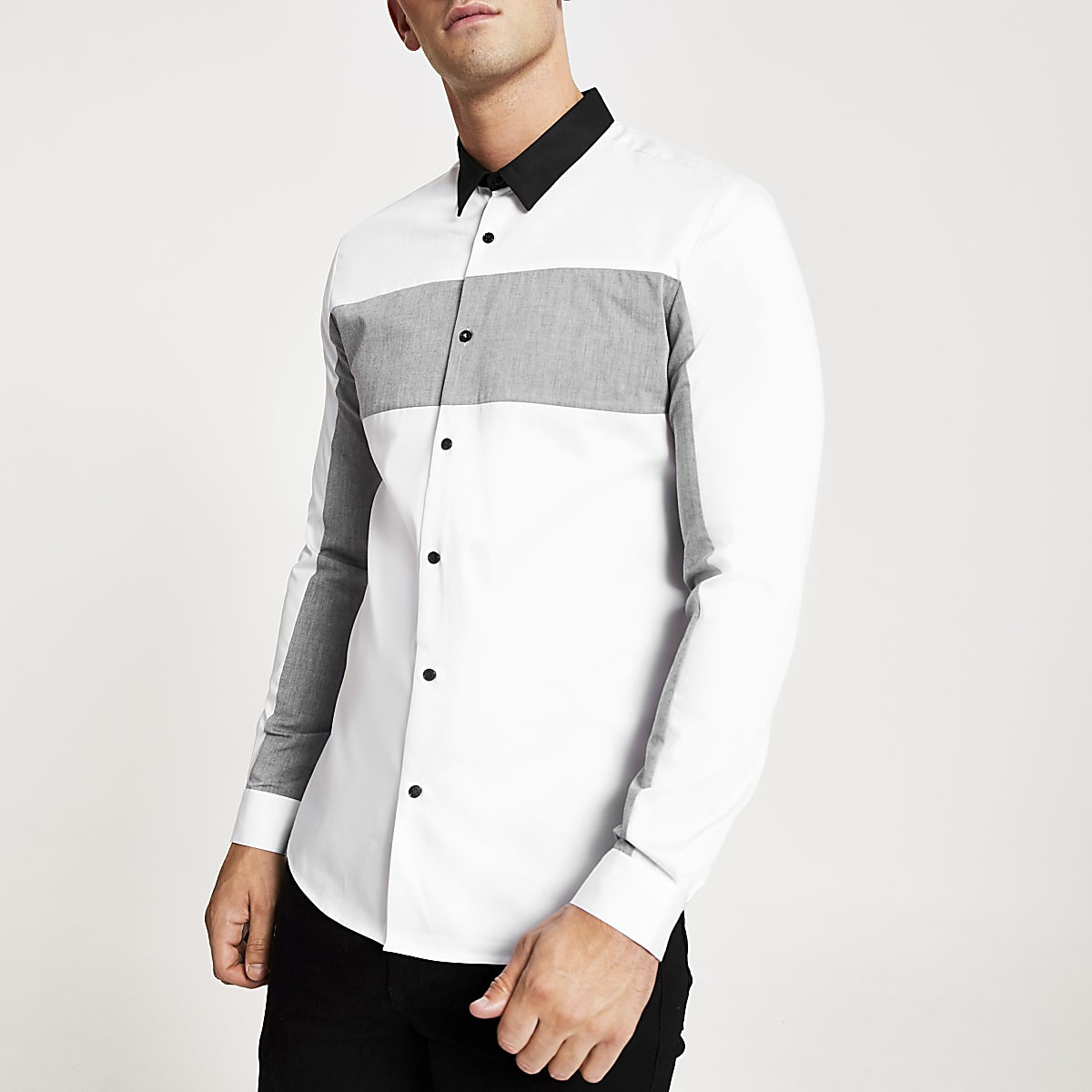 White chevron block print slim fit shirt