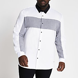 RI Big and Tall - Wit overhemd met normale pasvorm en kleurvlakken