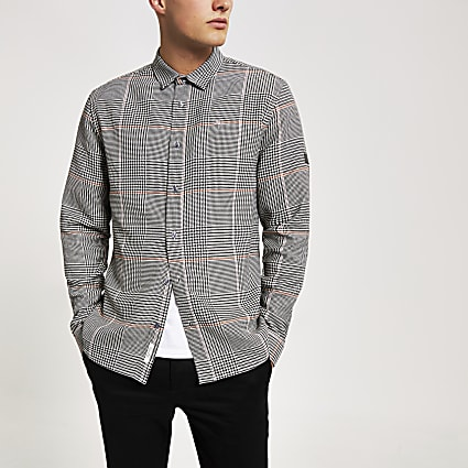 Grey Prince of Wales check slim fit shirt