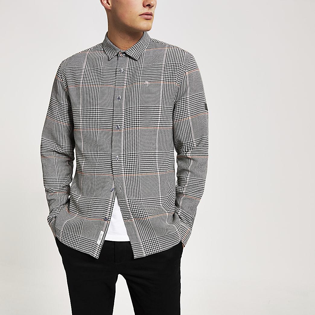 Grijs slim-fit  overhemd metPrince of Wales-ruit