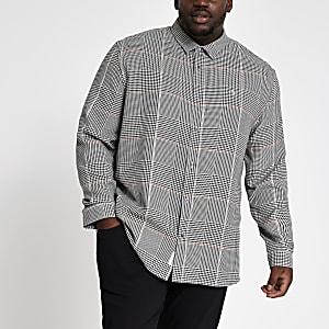 Big & Tall – Hellgraues Regular Fit Hemd mit Karomuster