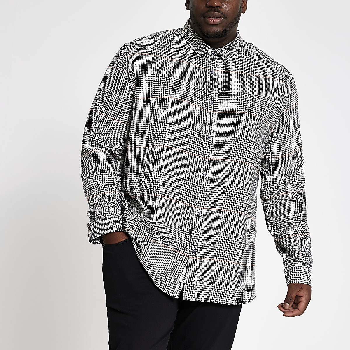 Big and Tall light grey check print shirt