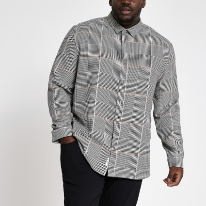 Big and Tall light grey check regular shirt