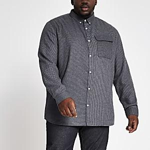 Big and Tall – Graues Hemd mit verschiedenen Karomustern