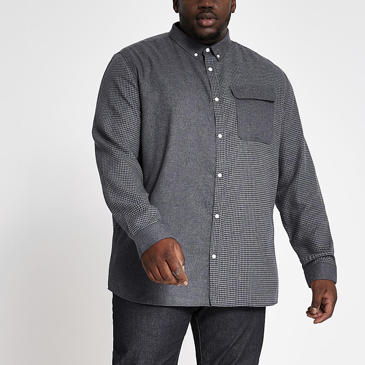 RI Big and Tall- Grijs geruit T-shirt met kleurvlakken