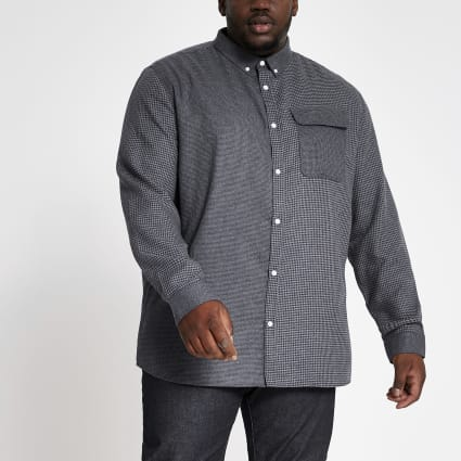 Big and Tall grey blocked check shirt