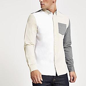 Grey colour block slim fit Oxford shirt